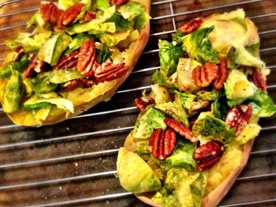 Brussels Sprouts and Pecan Stuffed Sweet Potatoes Recipe