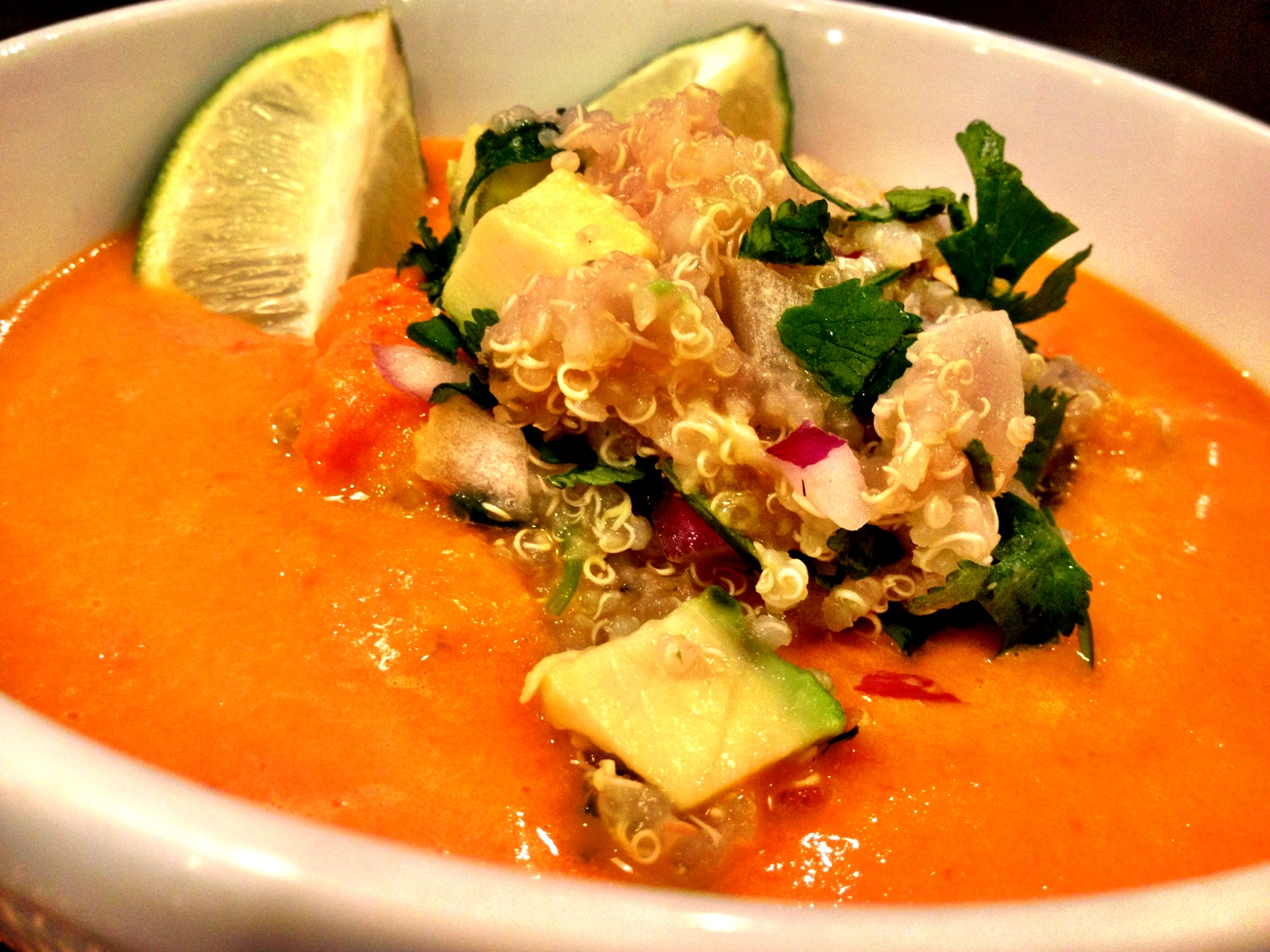 Roasted Red Pepper Soup with Quinoa Salsa Recipe